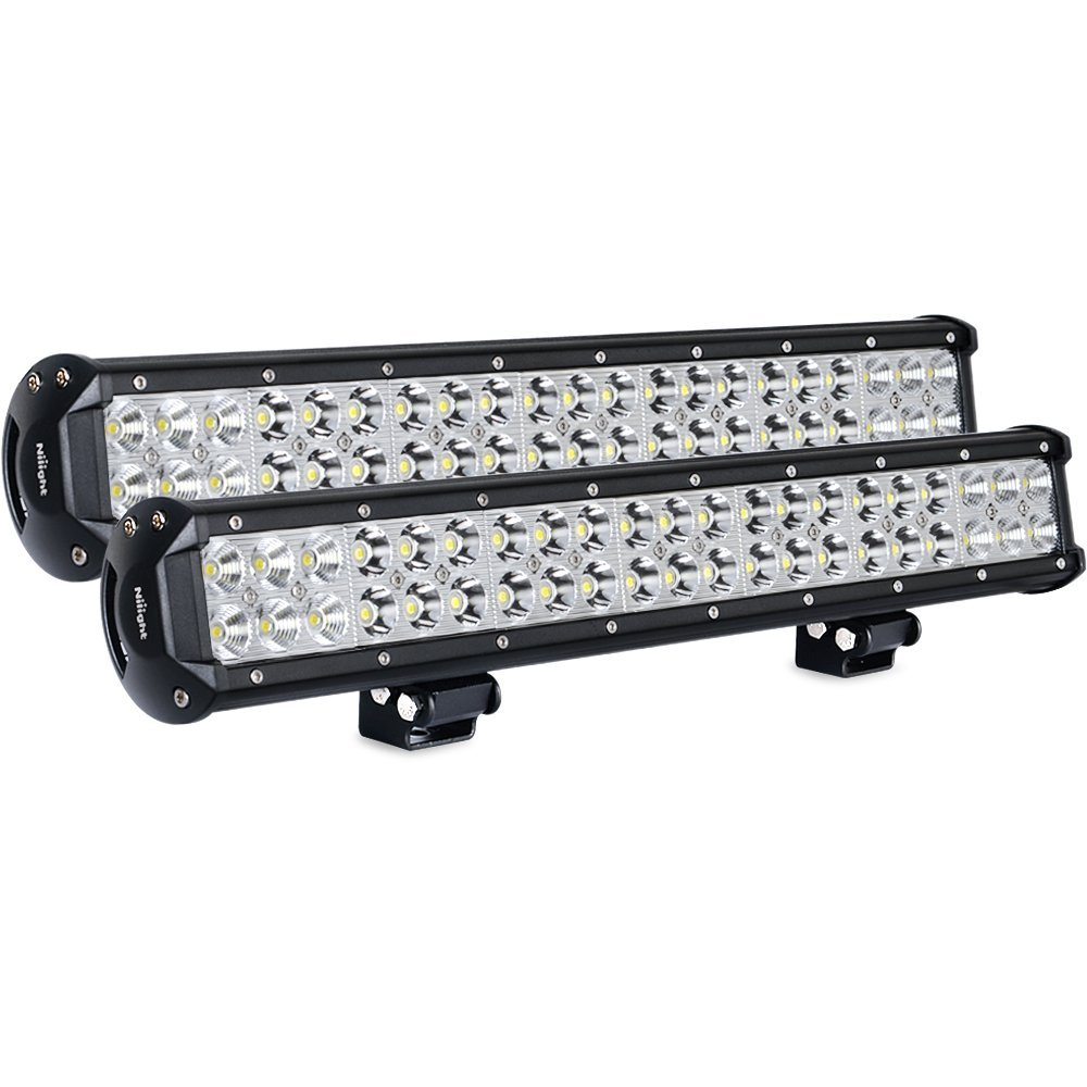 Nilight Light Bar 2PCS 20 Inch 126W LED Lights Spot Flood Combo Led Off Road Driving Lights