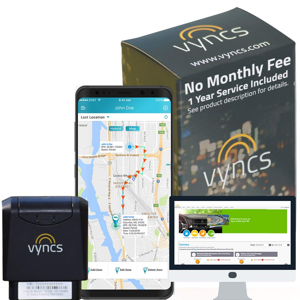 GPS Tracker Vyncs No Monthly Fee OBD Real Time 3G Car GPS Tracking Trips Free 1 Year Data Plan