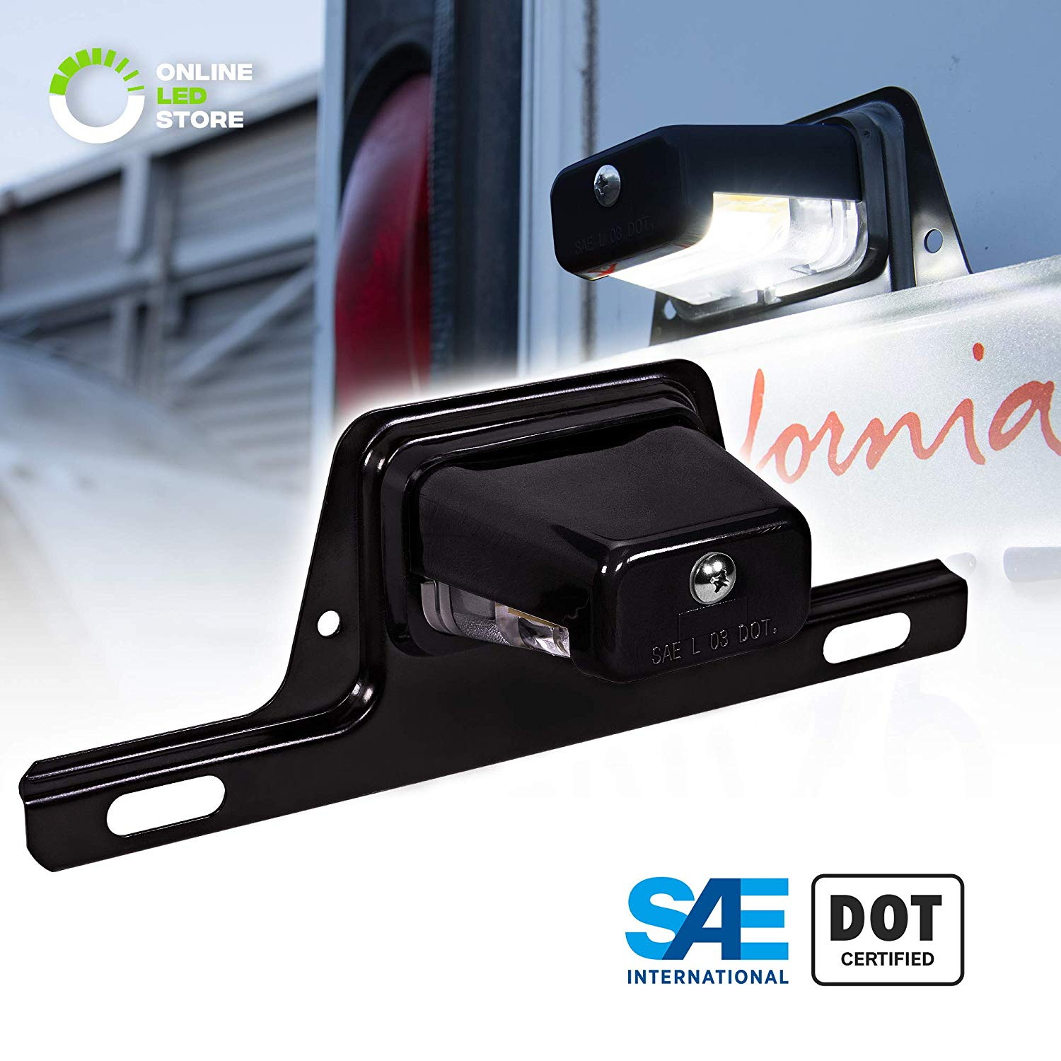 LED Trailer License Plate Lights w/Bracket [SAE/DOT Certified]