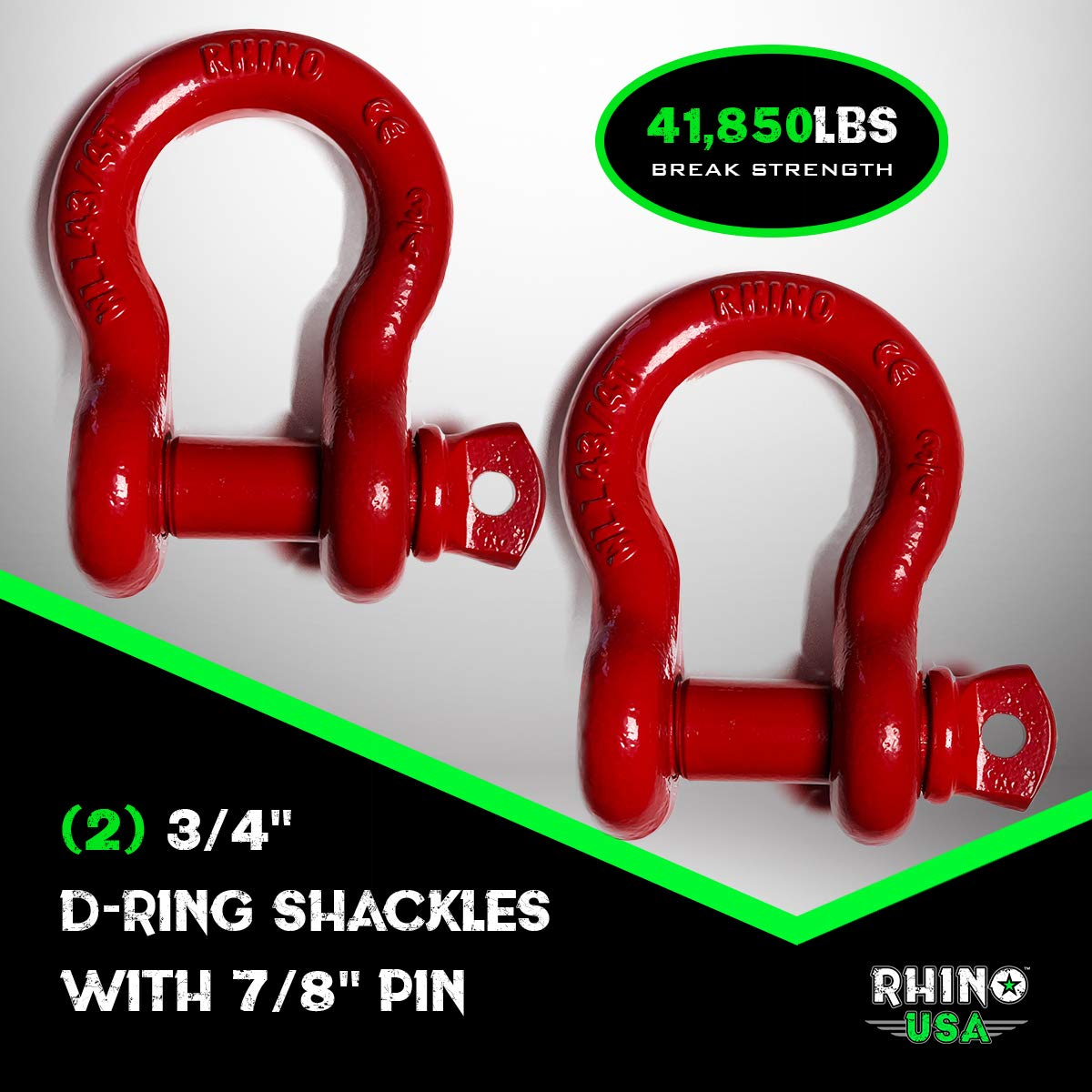 "Rhino USA D Ring Shackle (2 Pack) 41,850lb Break Strength – 3/4"" Shackle with 7/8 Pin for use with Tow Strap"