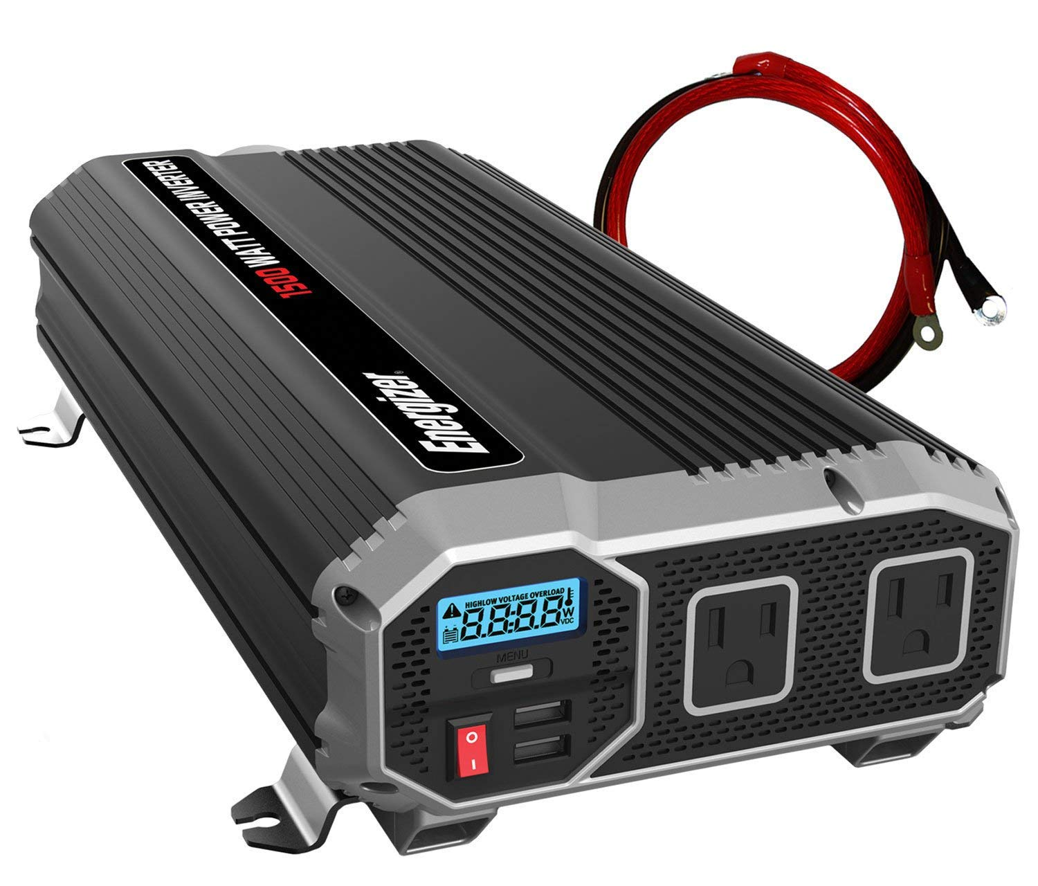ENERGIZER 1500 Watt 12V Power Inverter, Dual 110V AC Outlets, Automotive Back Up Power Supply Car Inverter