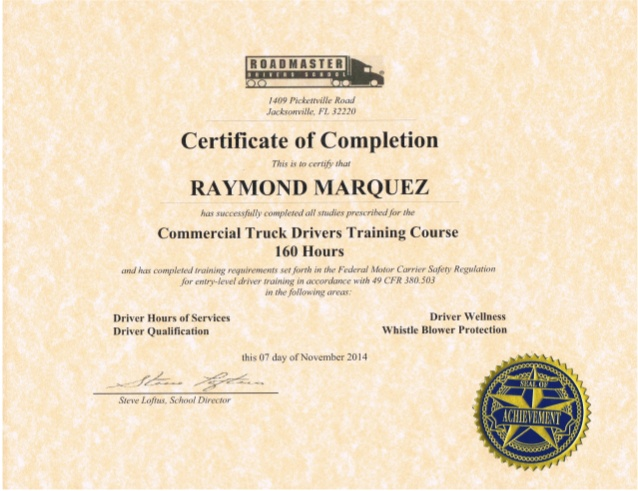 cdl certificate sample